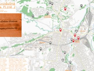 Protivzdušná ochrana Plzně mapa
